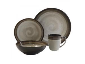 Gibson Couture Bands 16 PC Dinnerware Set Brown