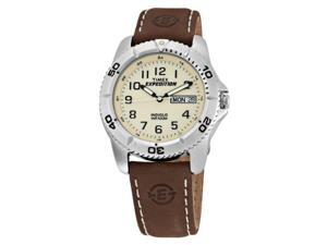 Timex Men's T46681 Expedition Easy Set Alarm Brown Leather Strap Watch - Timex
