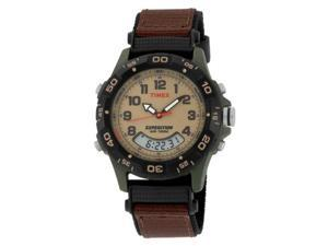Timex Men's T45181 Expedition Analog-Digital Chrono Alarm Timer Brown Fast Wrap Velcro Strap Watch - Timex