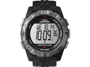 Timex Men's T49851 Expedition Rugged Digital Vibration Alarm Black/Silver-Tone Resin Strap Watch - Timex