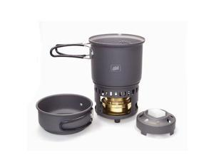Esbit 5-Piece Trekking Cook Set Includes Brass Alcohol Burner Stove And 2 Anodized Aluminum Pots - Esbit