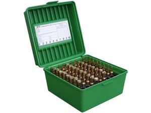 MTM 100 Round Deluxe Handled Flip-Top Rifle Ammo Case .22-250 to 58 Win Mag (Green) - MTM