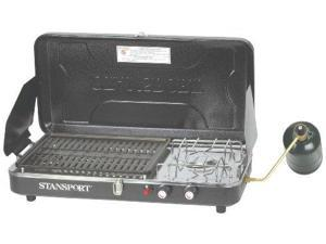 Stansport High Output 10,000 BTU Propane Stove and Grill Combo with Piezo Igniter, Black - Stansport