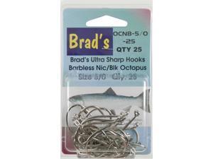 Brad'S Octopus Hooks - Nickel, 5/0, 25 Pack - Nic Oct Brbless Hook 5/0 25 Pk