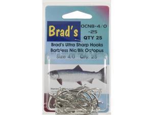 Brad'S Octopus Hooks - Nickel, 4/0, 25 Pack - Nic Oct Brbless Hook 4/0 25 Pk