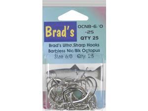 Brad'S Killer Fishing Gear Nic/Blk Brbless Hook 6/0,25Pk OCNB-6/0-25 (Fishing/Terminal)