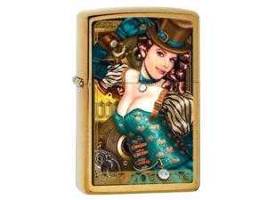 Zippo Brushed Brass Industrial Machinery Lady Lighter - Zippo
