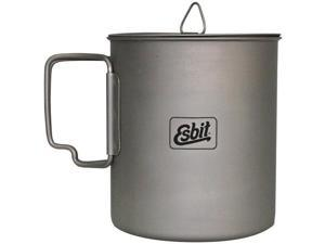 Esbit 750ml (25 oz) Ultralight Titanium Cooking Pot with Hinged Grip and Mesh Stow Bag - Esbit