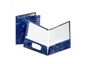Marble Design Laminated High Gloss Twin Pocket Folder Navy 25/box