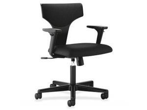 Basyx by HON T-shaped Back Task Chair with Arms Black - Polyester Black Seat - Polyester Black Back