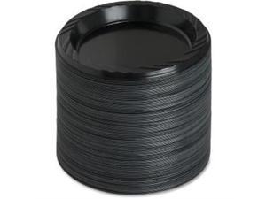 "Plastic Plates Round 6"" Plate 125/PK Black"
