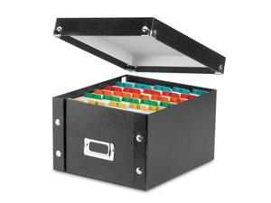 Collapsible Index Card File Box Holds 1 100 5 x 8 Cards Black