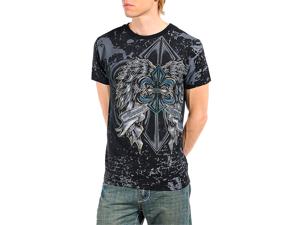 Men's Rhinestone Studded Fleur Di Lis Print Graphic T-shirt