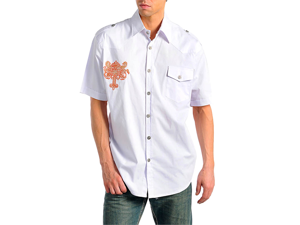 Embroidered Cross White Short Sleeve Men's Shirt