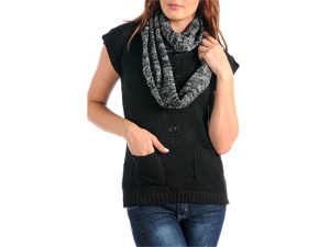 Black Knit Short Sleeve Sweater With Contrasting Ring Scarf