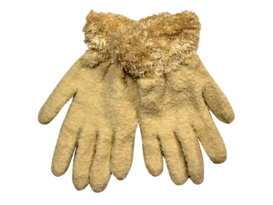 Ivory Fuzzy Stretch Gloves With Wispy Trim