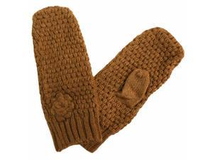 Camel Crochet Knit Mittens With Rosette