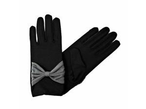 Black Gloves With Big Bow Accent