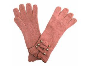Pink Angora Knit Gloves With Silver Buttons