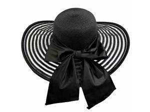 Black Wide Brim Pattern Floppy Hat Large With Satin Bow