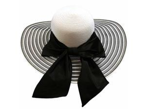 Black & White Wide Brim Pattern Floppy Hat Large With Satin Bow