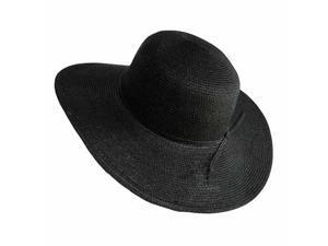 "Black Flat Brim 4"" Wide Floppy Sun Hat"