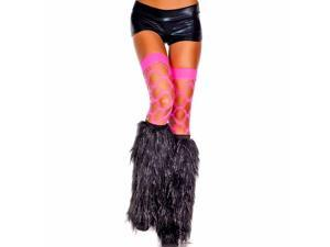 Black & Silver Faux Fur Leg Warmers