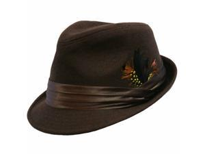 Brown Structured Wool Fedora Hat With Satin Hatband