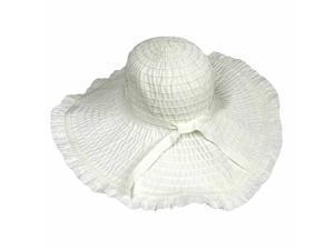 White Wide Brim Floppy Sun Hat With Ruffled Brim