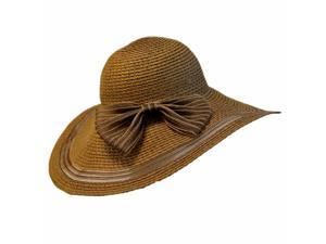Brown Beach Hat With Sheer Trim & Bow