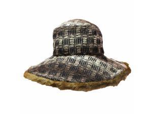 Brown Two-Tone Faux Fur Trim Floppy Hat