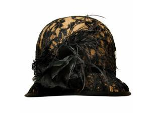 Camel Wool Bucket Hat With Black Lace Overlay