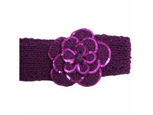 Purple Crochet Headband With Sequin Flower Detail