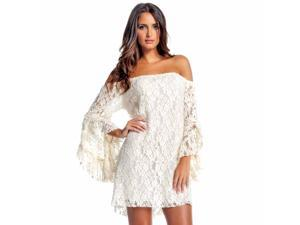 Off-White Lace Long Bell Sleeve Off Shoulder Dress