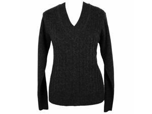 Black V-neck Long Sleeve Cable Knit Sweater