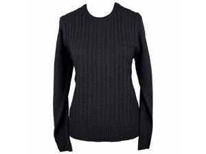 Black Simple Long Sleeve Cable Knit Sweater