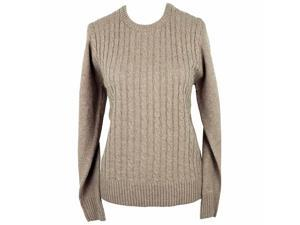 Beige Simple Long Sleeve Cable Knit Sweater