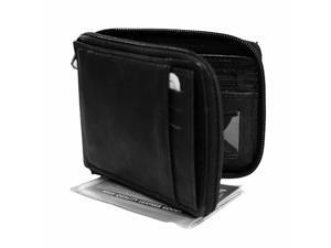 Black Leather Men's Zipper Wallet Photo Coin & CC Slot