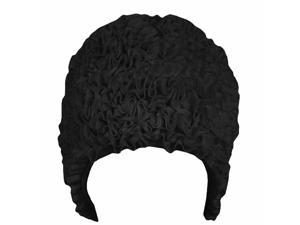 Black Ruffled Fabric Latex Lined Bathing Swim Cap