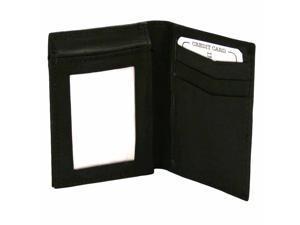 Black Leather Men's Flip Up Multi Slot Wallet