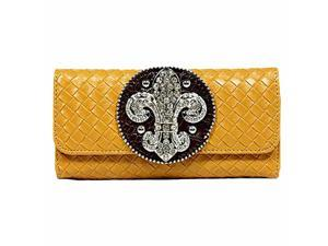 Camel Weaved Design Long Wallet With Fleur De Lis