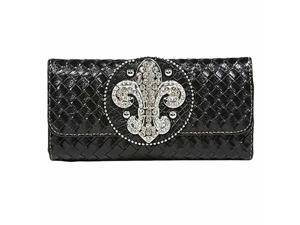 Black Weaved Design Long Wallet With Fleur De Lis