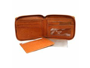 Tan Leather Men's Zipper Wallet Photo Coin & CC Slot