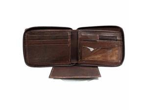Brown Leather Men's Zipper Wallet Photo Coin & CC Slot