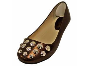 Bronze Shimmer Slip-On Ballet Style Flats With Silver Studded Toe