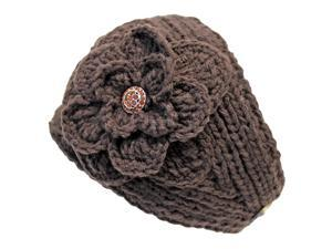 Brown Wide Knit Headband With Rhinestone Flower