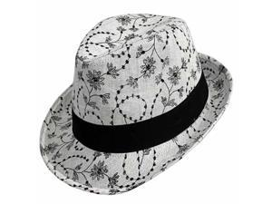 Grey Fedora With Black Floral Stitching