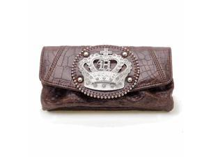 Brown Rhinestone Crown Expandable Wallet
