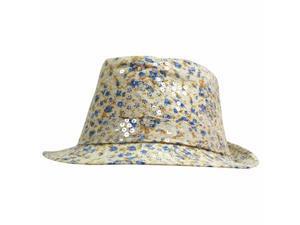 Ivory & Blue Sequined Floral Fedora Hat
