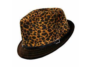 Cheetah Brown Animal Print Plush Fedora Hat